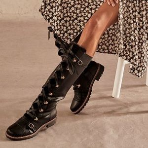 NIB Black Lace Up Over the Knee Boots